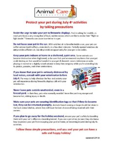 4th of July Pet Precautions