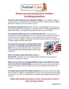 4th of July Pet Precautions