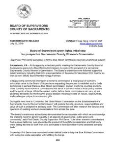 Blue Ribbon Commission on Establishing a Sacramento County Women's Commission News Release
